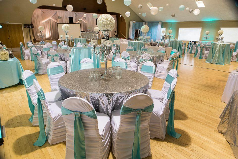 Silver & blue wedding photo